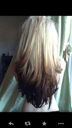 Reverse ombre blonde to brown