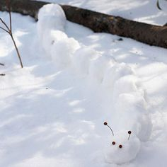 Snow Caterpillar- Challenge kids to build their favorite character or creature in the snow.