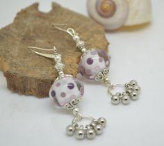 Boucles d'oreilles perles de verre filé au chalumeau rose violet mauve et blanc crochets en ARGENT 925 : Boucles d'oreille par liloo-creations