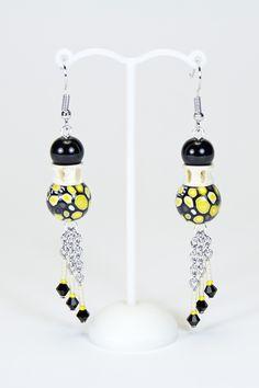 Boucles d'oreilles vertèbres noires et jaunes #gadhorre #jewelry