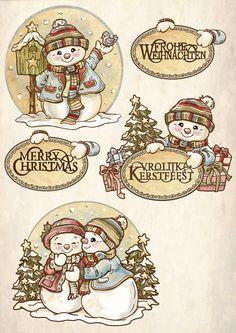 Christmas Topper, Christmas Rock, Christmas Scenes, Christmas Gift Tags, Christmas Pictures, Xmas Cards, Christmas Snowman, Winter Christmas, Vintage Christmas