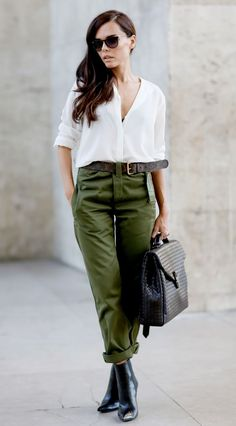 Khaki pants + white blouse