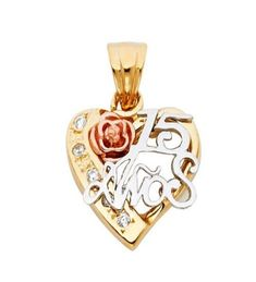 Real 14k Yellow White Gold #1 Daughter Heart CZ Charm Pendant Valentino chain 18