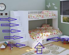 This triple bunk bed is part of our exclusive Cameo range, and features a single and small double bunk, complete with storage space and stairs. Bunk Beds With Drawers, Wooden Bunk Beds, Bunk Beds With Storage, Bunk Beds With Stairs, Bed Storage, Staircase Bunk Bed, Staircase Storage, Bunk Beds For Girls Room, Double Bed With Storage