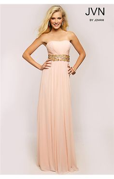 Pink Empire Waist Gown JVN22255 by JVN, JVN by Jovani, Prom dresses, Prom Dress, Evening wear