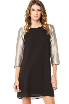 Enchantment Dress / ShopSosie #Shift #Black #Metallic #Sleeves #Dress #ShopSosie