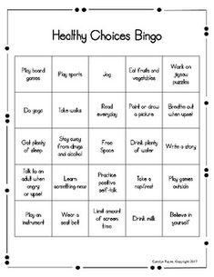 Red Ribbon Week Activities: Healthy Choices Bingo by Carolyn Payne Bingo, Red Ribbon Week, Gambling Addiction, Health Fair, Addiction Help, Running Plan, School Social Work, Counseling Activities, Guidance Lessons