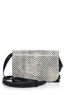Alexander Wang - Prisma Leather & Python Envelope Crossbody Bag/Matte Black