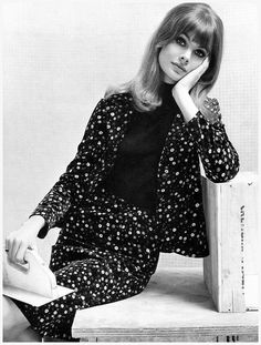 Jean Shrimpton, wearing a printed cord velvet suit by Jean Muir for Jane and Jane, photo by John French, 1964
