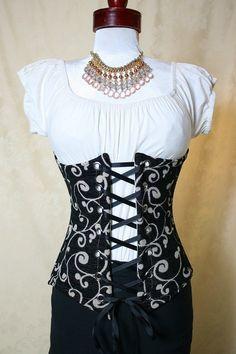 216ea0f8542 Items similar to Waist 27 to 29 Black Swirl Long Victorian Waist Corset on  Etsy