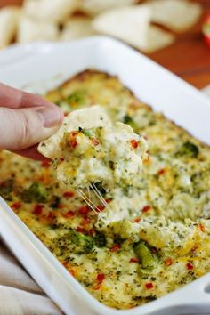 Cheesy Hot Broccoli Dip ~ the perfect crowd-pleasing hot dip to enjoy during the big game.   www.thekitchenismyplayground.com