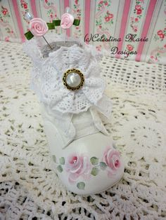 Baby Shoe and Lavender Scented Pin Cushion, Hand Painted