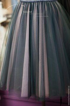 Купить Юбка из фатина Серый+пудровый Т05 - юбка из фатина, юбка из сетки, юбка пачка