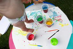 Safe paint for kids - flour + water + food coloring