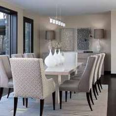 Like these fabric chairs too. Contemporary Dining Room Design Ideas with White Marble Dining Table and Modern Decorative Wall Arts Home Interior, Interior Design, Interior Ideas, Dining Room Inspiration, Rug Inspiration, Creative Inspiration, Dining Room Design, Dining Room Decorating, Design Kitchen