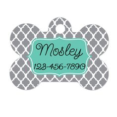 Personalized Dog Tag - Dog ID Tag - Personalized Bone Dog Tag - Pet Gift - Custom Pet ID Tag - Gray Mint