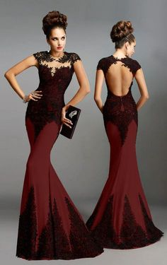 Janique - K6472 Lace And Jersey Gown in Red and Black