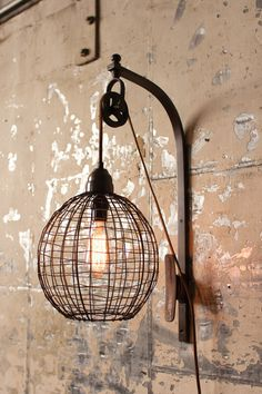 Industrial or rustic light fixture for stairwell