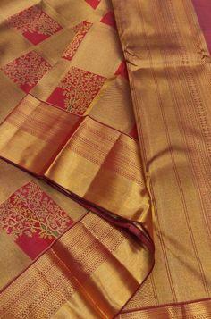 Buy online Red and Golden Checks Handloom Kanjeevaram Pure Silk Saree Online.Shop more Handloom Kanjeevaram Saree at Luxurionworld.