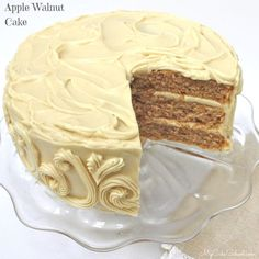Moist and Delicious Apple Walnut Cake with Maple Cream Cheese Frosting! Recipe by MyCakeSchool.com. Perfect for fall and Thanksgiving gatherings!