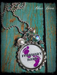 """Mother's """"Baby's Birth Month"""" Bottle Cap Necklace on Etsy, $14.00"""