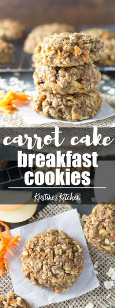 Thick, soft, and full of fresh carrot and apple, these Carrot Cake Breakfast Cookies are a healthy make ahead breakfast. Whole grain and refined sugar free. Gluten free option. Great for meal prep! #carrot #carrotcake #cookie #breakfast #healthyrecipes #snack #mealprep
