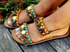 More Hippie Chic! These leather sandals are made with colorful ethic laces, semiprecious unique beads and fringes . Handmade from 100% real quality