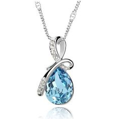 Austrian Crystal Necklace Pendant Silver Plated Jewelry Women Water Drop #AL185 #Unbranded #Pendant