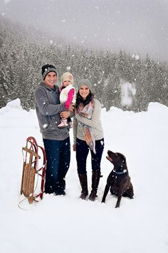 Family photo in snow!- with sophie minus the baby :)