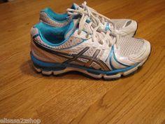 Womens Used Asics Gel Kayano 18 white blue athletic shoes 8.5 8 1/2 running