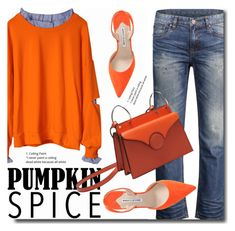 """""""Pumpkin Spice outfit"""" by soks ❤ liked on Polyvore featuring Manolo Blahnik"""