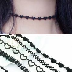 New choker necklace Black leather lace Heart Mix Designs Woman Jewelry  #luxuryfashion #Choker