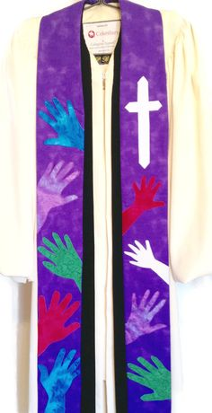 Clergy Stole  Purple Stole w/ Handprints and Cross by PulpitStoles