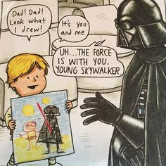 The force is with you young sky walker love reading this book is my son Star Wars Comics, Star Wars Cartoon, Star Wars Jokes, Star Wars Fan Art, Luke Skywalker, Yolo, Images Star Wars, Star Wars Drawings, Star War 3