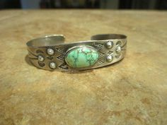 Beautiful Old Fred Harvey Sterling Spider Web Turquoise Bracelet. Estimated Date 1940's. Authentic Navajo. Warranted to be Sterling Silver. | eBay!