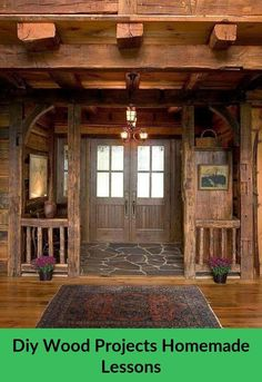 Lodge entry, rough cut wood,stone and Persian rug. Timber frame, French doors and lighting fixtures make this lodge. Wooden Lodges, Timber Frame Homes, Timber Frames, Log Cabin Homes, Log Cabins, Mountain Cabins, Cabin Interiors, Rustic Interiors, My Dream Home