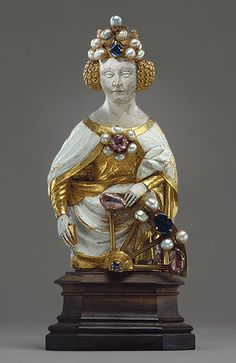 Saint Catherine of Alexandria, early 15th century  French  Gold, ronde-basse enamel, jewels