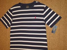 POLO RALPH LAUREN  BOY'S  T  SHIRT TOP LARGE 14 / 16  BLUE  WHITE  STRIPED NEW #PoloRalphLauren