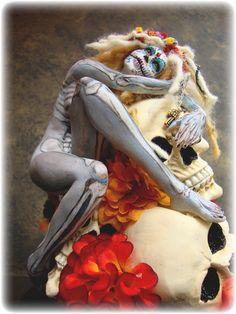 "My latest 9"" sculpture http://www.ebay.com/itm/Day-of-the-Dead-Dia-de-los-Muerta-Sugar-Skull-Art-Doll-Sculpture-Vicci-Noel-/121003818698?pt=US_Dolls_Bears_Toys=item1c2c63beca"