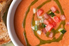 Gazpacho is the go-to cold soup for summer. Then you get a twist on the classic cold soup, with watermelon in addition to tomatoes. When you think about it, both watermelon and tomatoes are technically fruit, so it's like a subtle dessert. Watermelon Gazpacho Recipe, Soup Recipes, Cooking Recipes, Healthy Recipes, What's Cooking, Healthy Meals, Crockpot Recipes, Vegetarian Recipes, Healthy Food