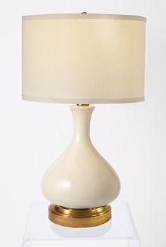 Bon Bartlett Ivory Brass Cordless Lamp   Made In The USA