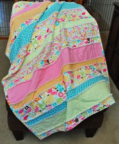 """Watermelon Sherbet Forest"" Michael Miller Design...Flannel Rag Quilt 42 x 60"""