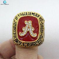 1999 Alabama Crimson Tide intersection championship ring Black Red Enamel Crystal Gold Pleated Ring Men