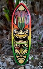 Rasta Tiki Surfboard Wall Art Solid Wood Red Yellow Green Tropical Beach Decor