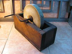 Antique Primitive Stone Grinding Wheel Copper Inlay With Wooden Box