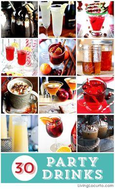 30 Amazing Party Drink Recipes. Cocktails and Mocktails. LivingLocurto.com