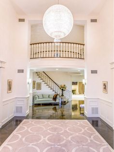 Foyer with large chandelier