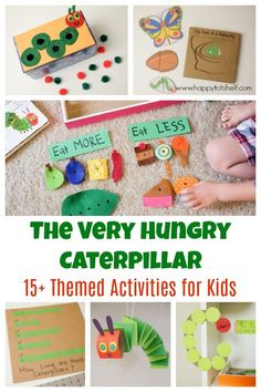 The very hungry caterpillar theme activities for kids based on the children book by Eric Carle. Toddler Learning Activities, Toddler Preschool, Spring Activities, Literacy Activities, Fun Learning, Preschool Books, Preschool Games, Preschool Classroom, Preschool Ideas