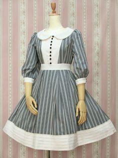 Victorian Maiden :: Regimental Stripe Tuck Dress