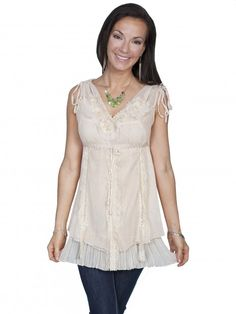 Scully® Ladies Ivory Lace Sleeveless Western Blouse